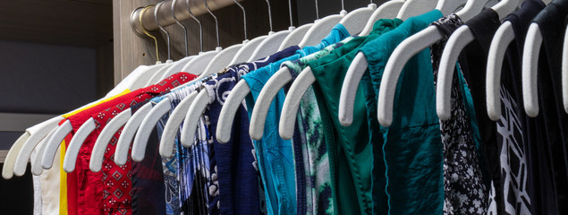 An organized closet of colorful shirts depicting order.