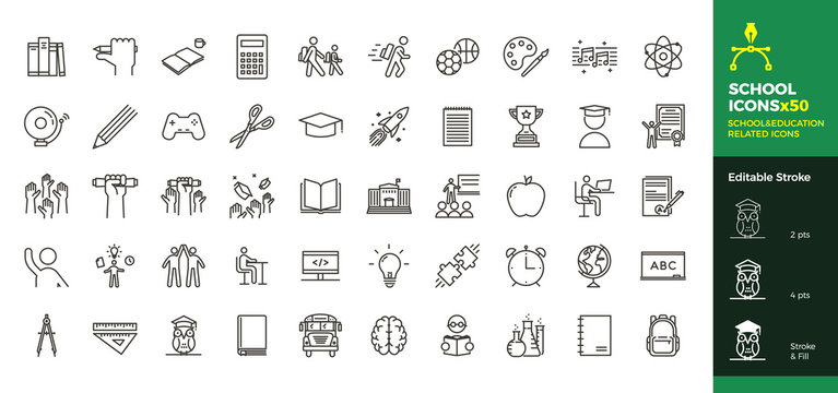 Back to school icon set with 50 different vector icons related with education, success, academic subjects and more. Editable stroke for your own needs.