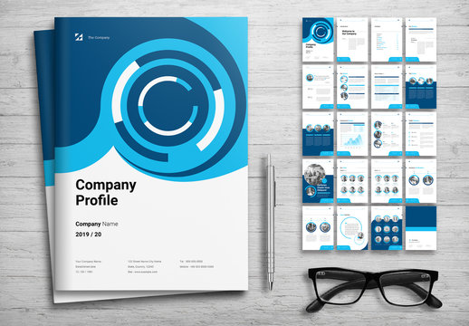 Corporate Profile Booklet Layout with Blue Accents