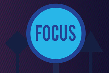 Word writing text Focus. Business concept for state quality of having or producing clear visual definition.