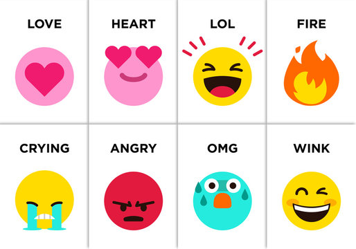 Emoji set icons with differents reactions Vector, color icon set