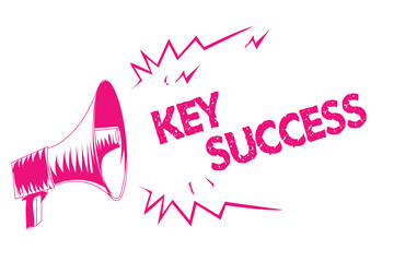Conceptual hand writing showing Key Success. Business photo text generally three to five areas that company may focus on Pink megaphone loudspeaker important message screaming speaking