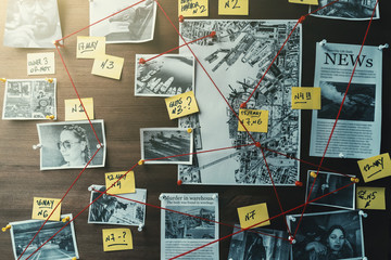 Detective board with photos of suspected criminals, crime scenes and evidence with red threads, toned