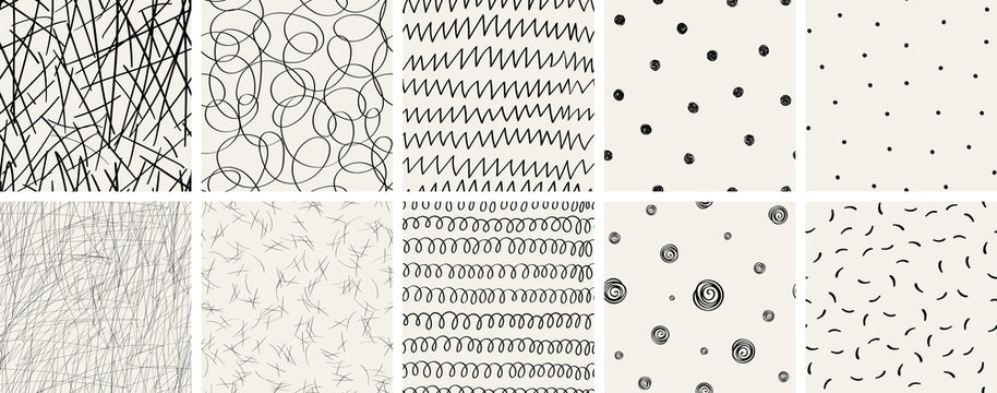 Set of seamless abstract hand-drawn patterns. Vector modern creative backgrounds for your design