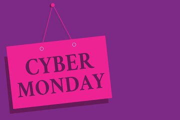 Conceptual hand writing showing Cyber Monday. Business photo text Marketing term for Monday after thanksgiving holiday in the US Pink wall message communication open close sign purple background