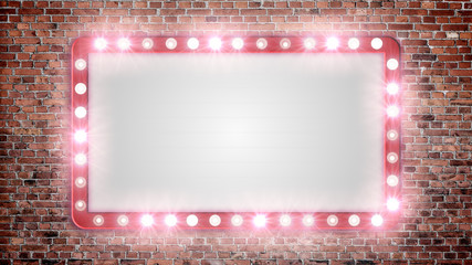 A blank marquee sign on a red brick wall with flashing lights.