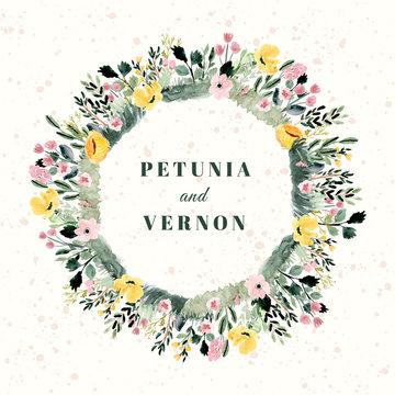 wedding badge with floral garden watercolor frame