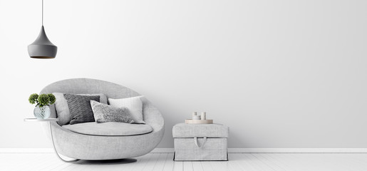 Home interior with gray sofa and white wall mock up, Scandinavian style, 3d render