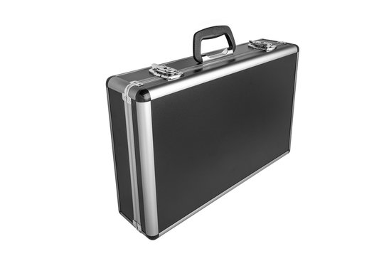Black padded aluminum briefcase case with metal corners isolated on white