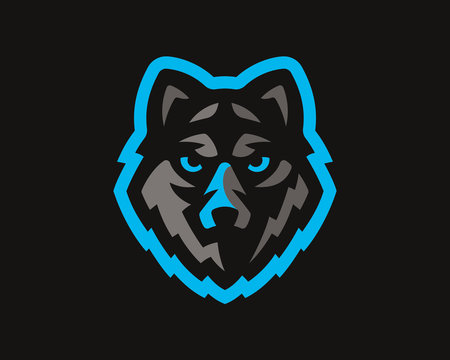 Wolf modern logo. Wolf emblem design template for a sport and eSport team.