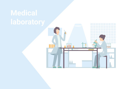 Web page design template for online medical support, laboratory, health care, medic services. Scientist research and experiments, use for landing page, template, web, mobile app, flyer, poster, banner