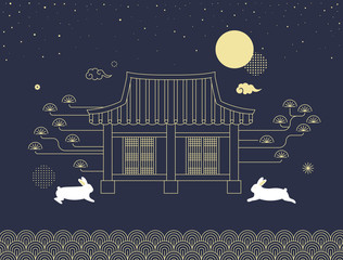 Mid autumn festival vector illustration with Korean traditional house and rabbits.