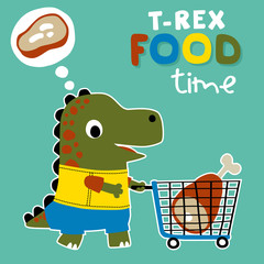 dinosaurs food time with big meat, vector cartoon illustration