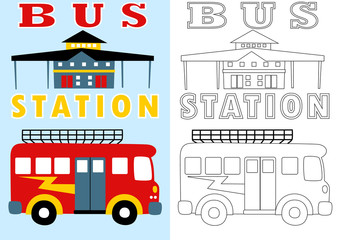 bus station, vector cartoon for coloring page or book
