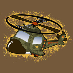 helicopter army with splatter, vector cartoon