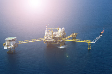 An offshore oil and gas platform aerial view. Wall mural
