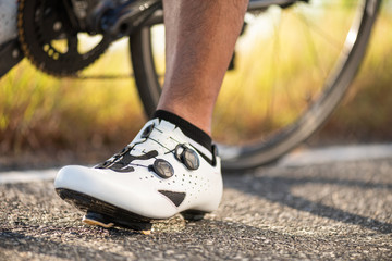 Close up bike shoes ready for cycling outdoors. Sports and outdoor activities concept.