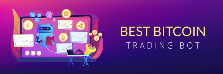 Cryptocurrency mining software, artificial intelligence for e business. Crypto trading bot, automated AI tradings, best bitcoin trading bot concept. Header or footer banner template with copy space.