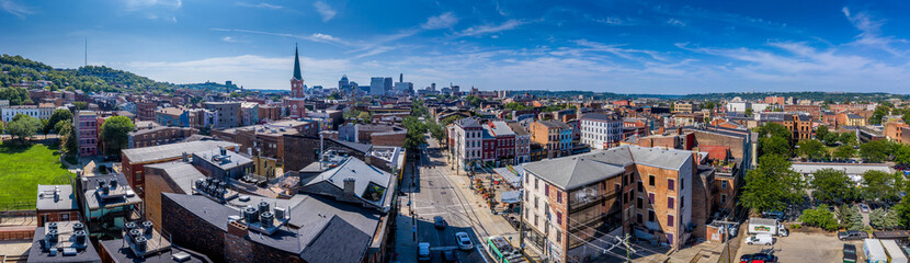 Aerial view of the Over the Rhine trendy Cincinnati neighborhood with downtown in the background in Ohio USA