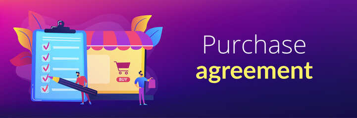 Man doing purchases from shopping list. Customer with package, buying goods. Purchase agreement, in-app purchase, buying process concept. Header or footer banner template with copy space.