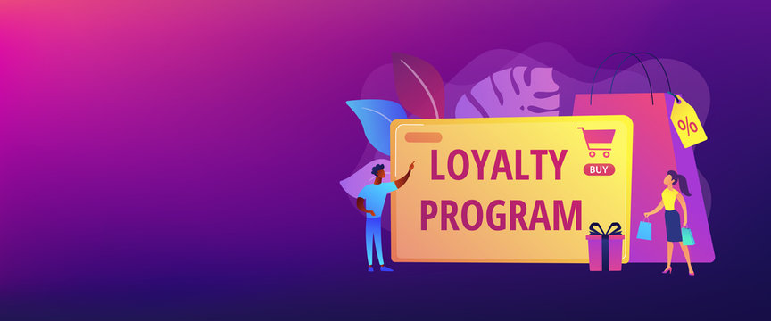 Rewards scheme for customers. Marketing strategy. Clients attraction. Loyalty program, personalized promotion, use your purchase history concept. Header or footer banner template with copy space.