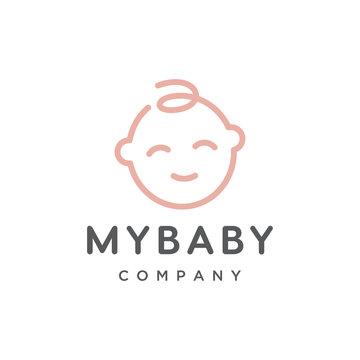 cute baby face outline vector logo design