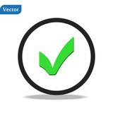 Black check mark icon  Tick symbol in black color, vector