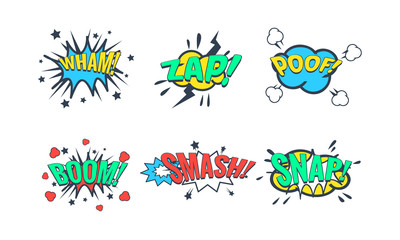 Comic Speech Bubble with Text Set, Comic Sound Effects, Wham, Zap, Poof, Boom, Smash, Snap Vector Illustration