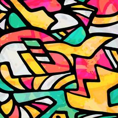 Papiers peints Graffiti abstract geometric objects graffiti grunge effect