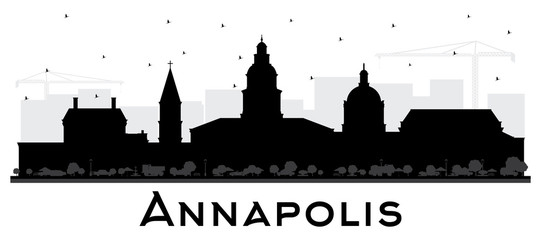Fototapete - Annapolis Maryland City Skyline Silhouette with Black Buildings Isolated on White.