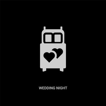 white wedding night vector icon on black background. modern flat wedding night from shapes concept vector sign symbol can be use for web, mobile and logo.