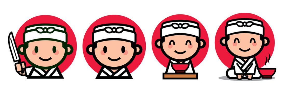 Cute Japanese chef set with japanese knife and ramen bowl - vector mascot character illustration - vector