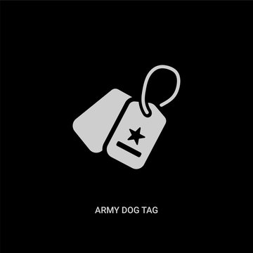 white army dog tag vector icon on black background. modern flat army dog tag from miscellaneous concept vector sign symbol can be use for web, mobile and logo.