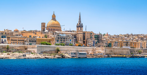 Wall Mural - Panoramic skyline and harbor view of Valletta, Malta.