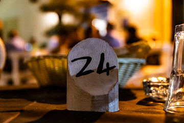 place card, number 24 on the table