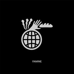 white famine vector icon on black background. modern flat famine from ecology and environment concept vector sign symbol can be use for web, mobile and logo.