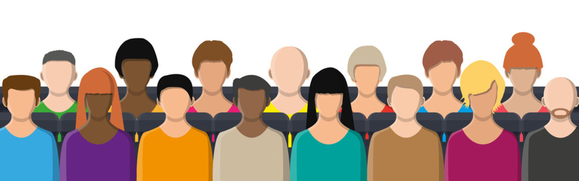 Crowd of people sitting in rows. Concept of business conference, meeting, movie cinema, theater. People face, avatar icon, cartoon character in color. Male and female. Vector illustration flat style