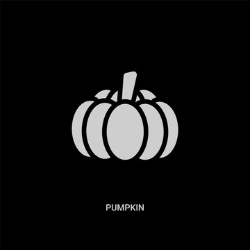 white pumpkin vector icon on black background. modern flat pumpkin from fruits and vegetables concept vector sign symbol can be use for web, mobile and logo.