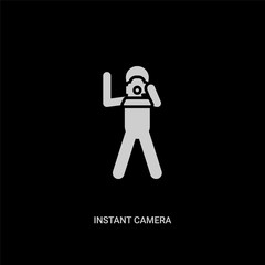 white instant camera vector icon on black background. modern flat instant camera from free time concept vector sign symbol can be use for web, mobile and logo.