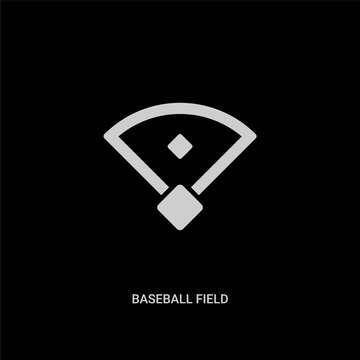 white baseball field vector icon on black background. modern flat baseball field from free time concept vector sign symbol can be use for web, mobile and logo.