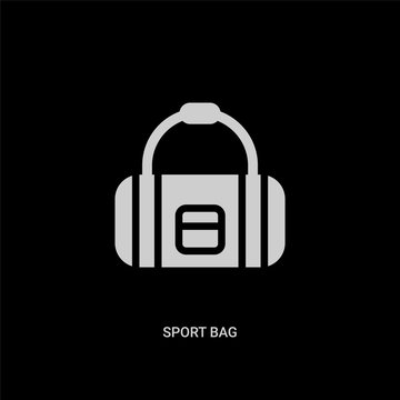 white sport bag vector icon on black background. modern flat sport bag from football concept vector sign symbol can be use for web, mobile and logo.