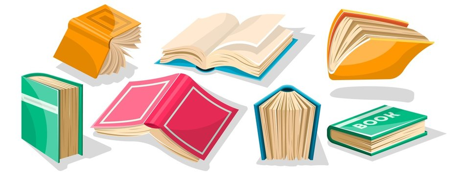 Big set with red, yellow, green, blue opened and closed textbooks, business diaries, workbooks in different positions. World book and copyright day concept. Vector cartoon icons on white.