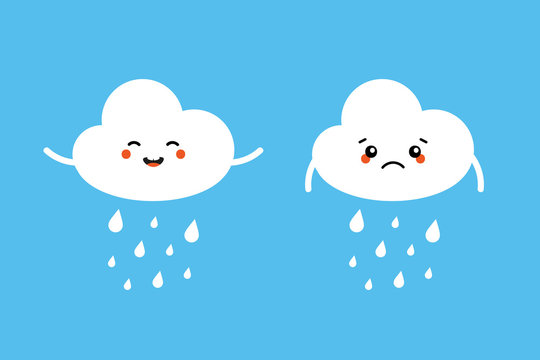 Set, collection of raining cloud characters, sad and happy, expressing their emotions about the weathe