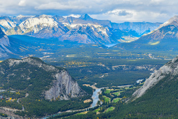 Wall Mural - View over the town of Banff and the Canadian Rockies seen from Sulphur Mountain.