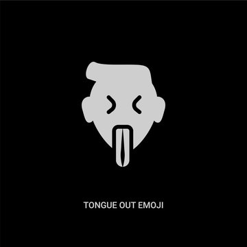 white tongue out emoji vector icon on black background. modern flat tongue out emoji from emoji concept vector sign symbol can be use for web, mobile and logo.