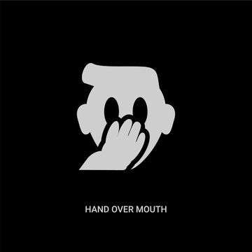 white hand over mouth emoji vector icon on black background. modern flat hand over mouth emoji from emoji concept vector sign symbol can be use for web, mobile and logo.