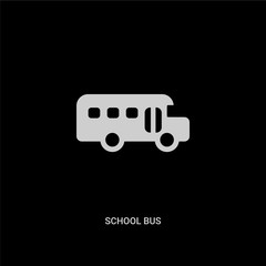 white school bus vector icon on black background. modern flat school bus from education concept vector sign symbol can be use for web, mobile and logo.