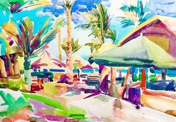 original watercolor egyptian landscape painting