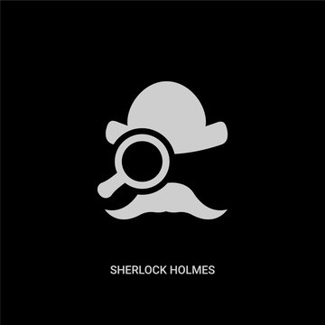 white sherlock holmes vector icon on black background. modern flat sherlock holmes from education concept vector sign symbol can be use for web, mobile and logo.
