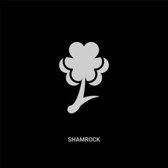 white shamrock vector icon on black background. modern flat shamrock from ecology concept vector sign symbol can be use for web, mobile and logo.